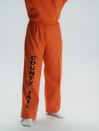 Orange Elastic Waistband Pants with Black letters