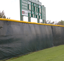 Part of a sport field with wind screen