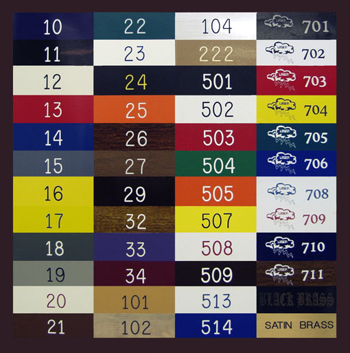 Engraved plastic sign Color Chart