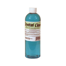 Crystal Clean, plastic bottle with concentrated liquid. Color: Clear light turquoise-blue liquid. Odor: Green Apple scent.