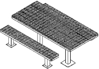 Picnic Table w/ Leg Assembly & Mounting Plates